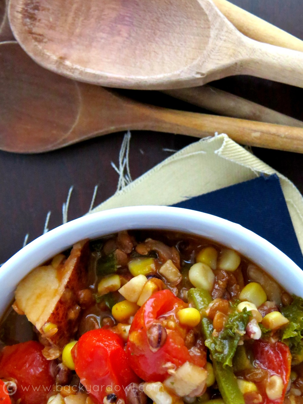 summer vegetable soup with lentils and barley