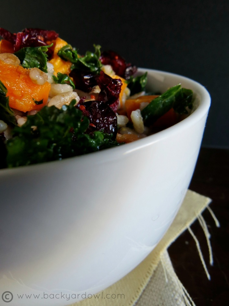 sweet potato kale salad with smoked tofu