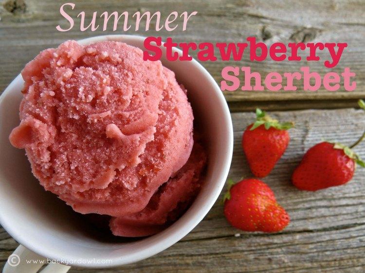 creamy strawberry sherbet