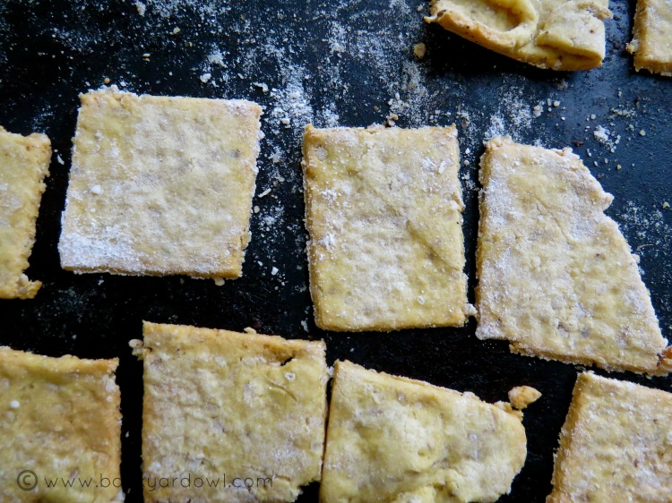 savoury chickpea flour crackers with onion and sesame seeds