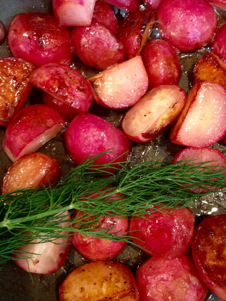 braised radishes with grassfed butter and sea salt and dill, local food, london ontario
