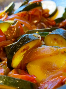 summer balsamic zucchini and tomatoes